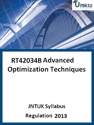 Advanced Optimization Techniques Syllabus
