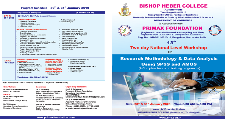 Two day National Level Workshop on Research Methodology & Data Analysis using SPSS and AMOS