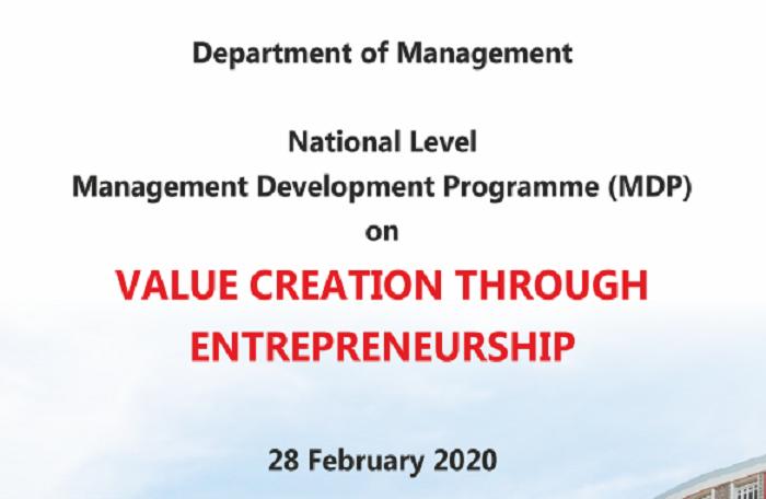 National Level Management Development Programme on Value Creation Through Entrepreneurship