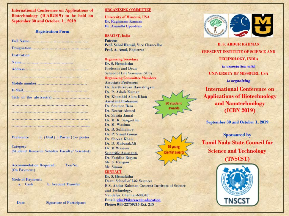 International Conference on Applications of Biotechnology and Nanotechnology
