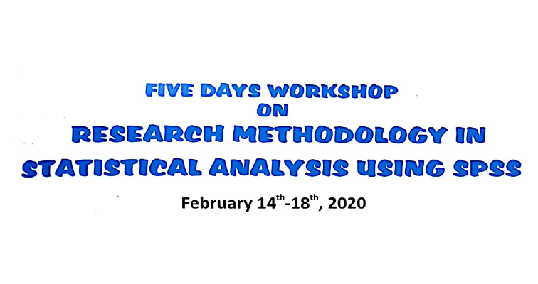 Five days workshop on research methodology in statistical analysis using SPSS