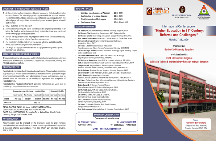 International Conference on, Higher Education in 21st Century: Reforms and Challenges