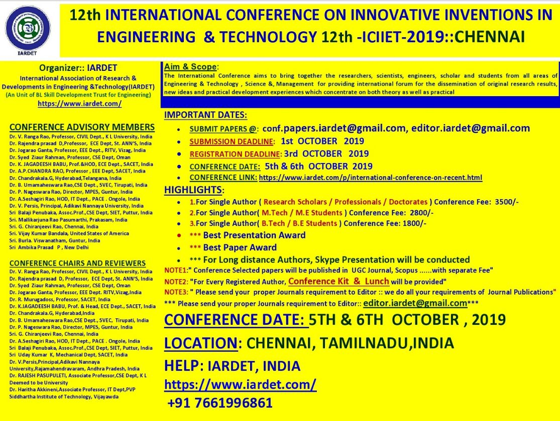 12th International Conference on Innovative Inventions in Engineering and Technology