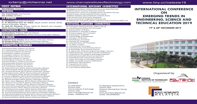 International Conference on Emerging Trends in Engineering, Science and Technical Education 2019