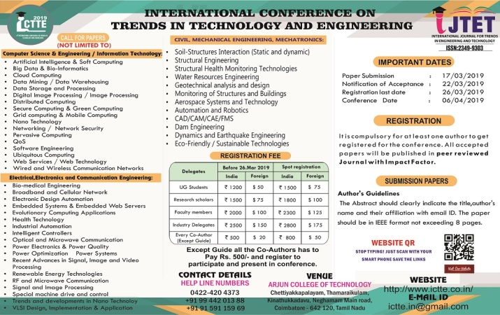 International Conference on Trends in Technology and Engineering ICTTE 19, Arjun College of Technology, Coimbatore, Tamil Nadu, 6th April 2019