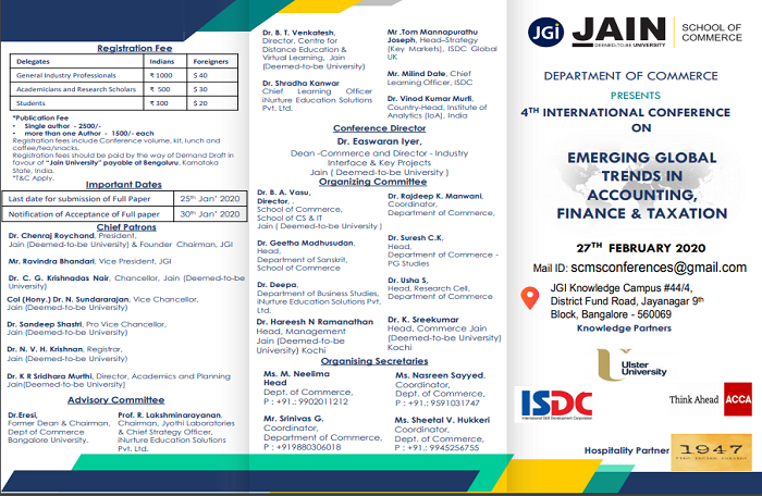 4th International Conference on Emerging Global Trends in Accounting, Finance & Taxation