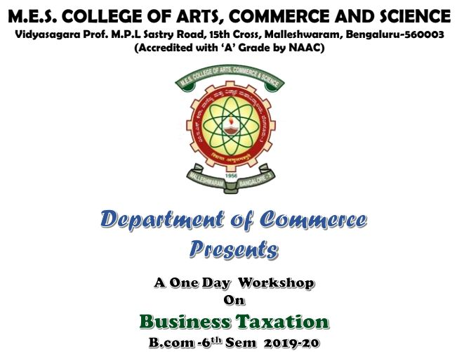 A One Day Workshop on Business Taxation