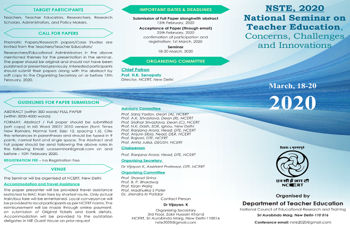 National Seminar on Teacher Education, Concerns, Challenges and Innovations