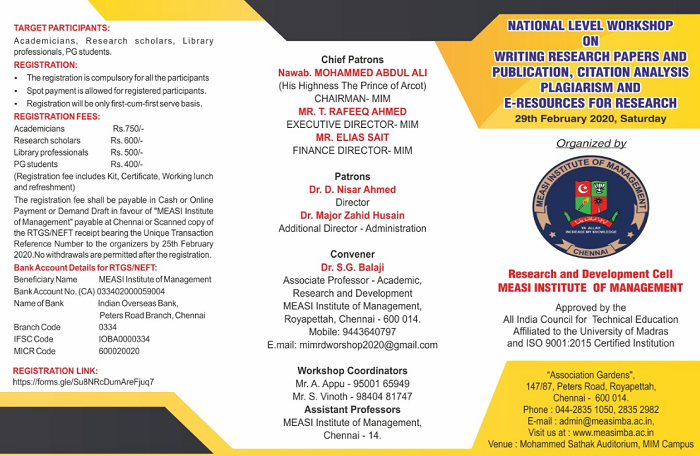 National Level Workshop on Writing Research Papers and Publication, Citation Analysis Plagiarism and E-resources for Research