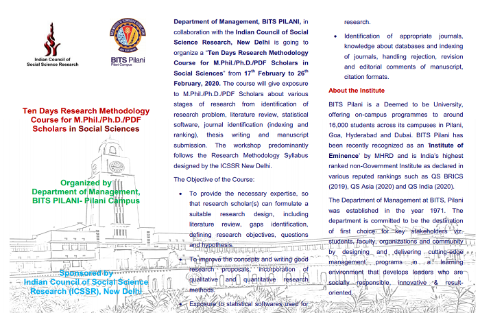 Ten Days Research Methodology course for M.Phil./Ph.D./PDF scholars in Social Sciences