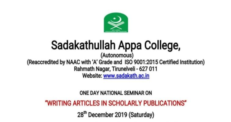National Seminar on Writing Articles in Scholarly Publications