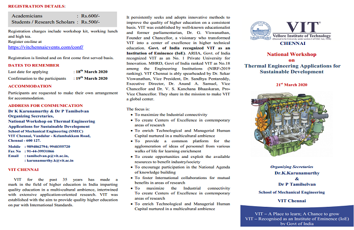 National Workshop on Thermal Engineering Applications for Sustainable Development