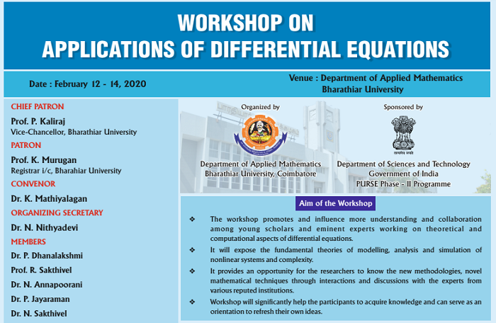 Workshop on Applications of Differential Equations