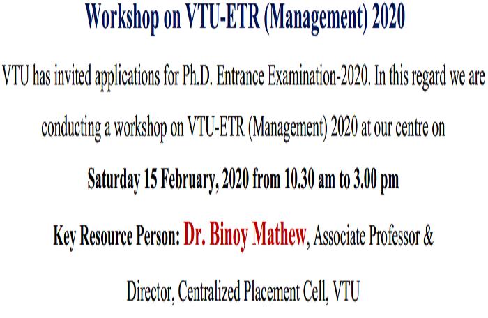 Workshop on VTU-ETR (Management) 2020