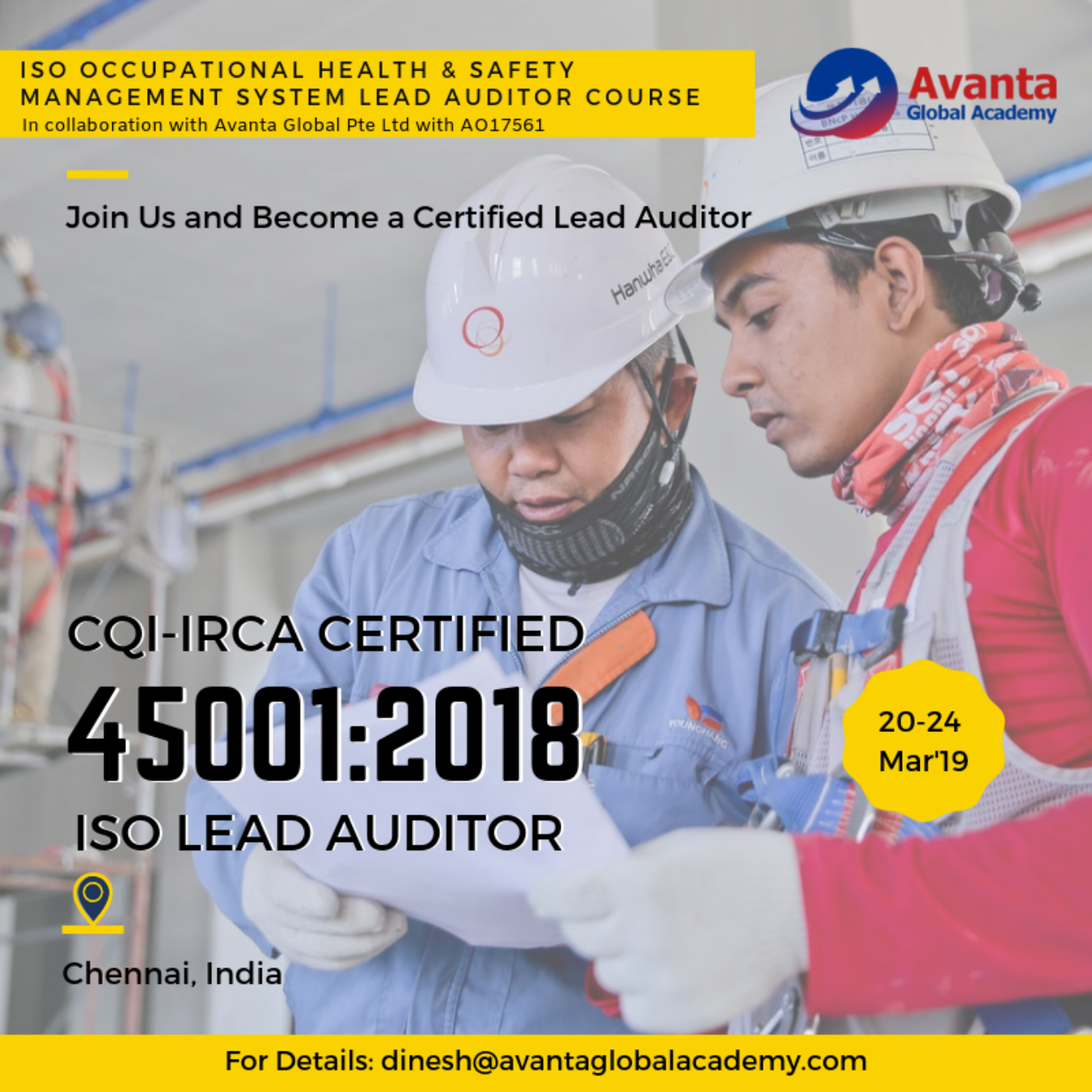 ISO 45001:2018 Occupational Health & Safety Management System Auditor / Lead Auditor Course