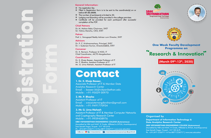 One Week Faculty Development Programme on, Research & Innovation