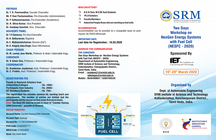 Two Days Workshop on NexGen Energy Systemes with Fuel Cell (NESFC 2020)