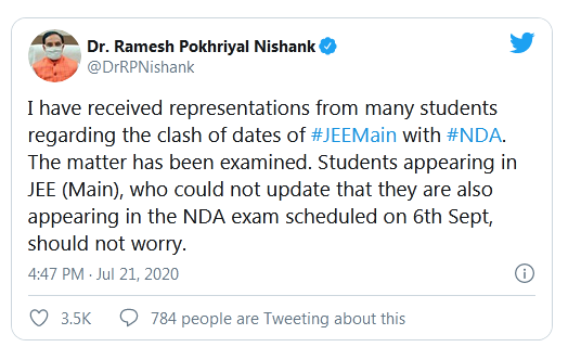 NTA JEE Main 2020 dates clash with UPSC NDA here is what HRD Minister said