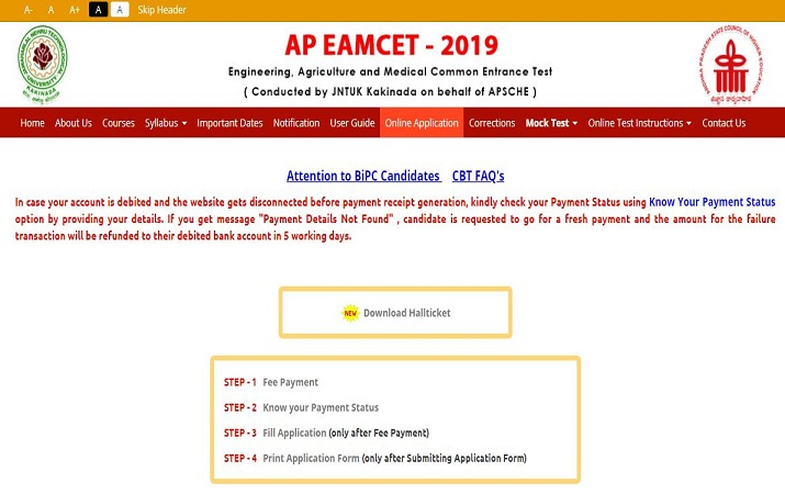 Admit cards for AP EAMCET 2019 released