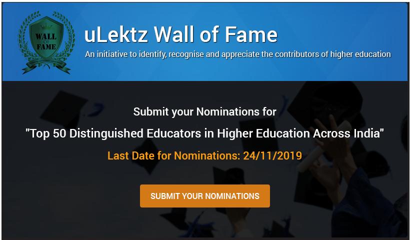 uLektz Wall of Fame - Top 50 Distinguished Educators in higher educati