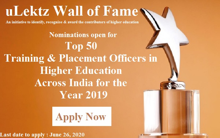 uLektz Wall of Fame will be honouring, Top 50 Training and Placement O