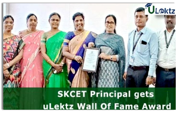 SKCET Principal gets  uLektz Wall Of Fame Award