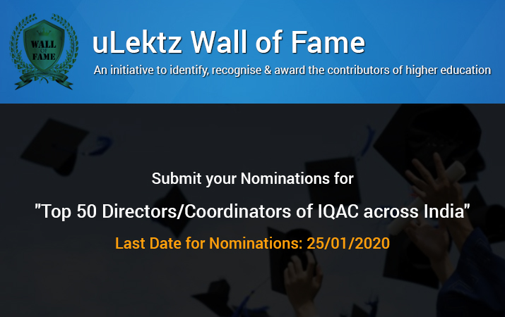uLektz Wall of Fame will be honouring Top 50 Directors or Coordinators of IQAC across India