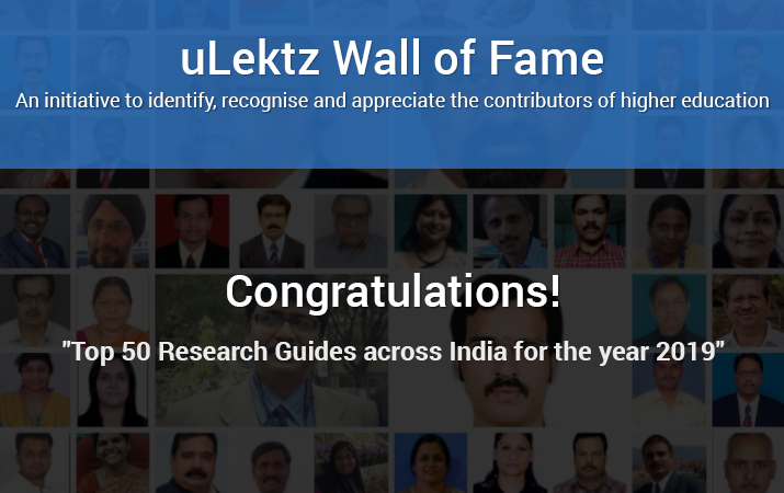 uLektz Wall of Fame is proud to announce Top 50 Research Guides across India for the year 2019