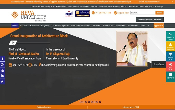 Vice President inaugurates the State-of-the-art Architecture Block at REVA Univeristy