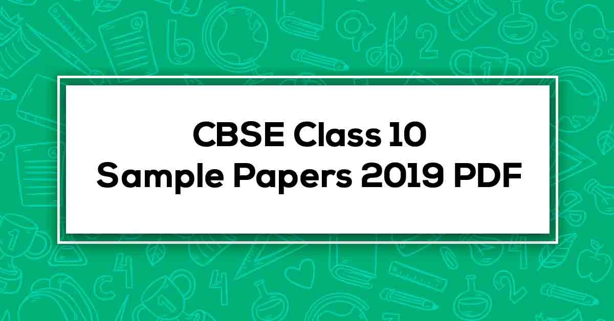 cbse sample paper 2019 class 10