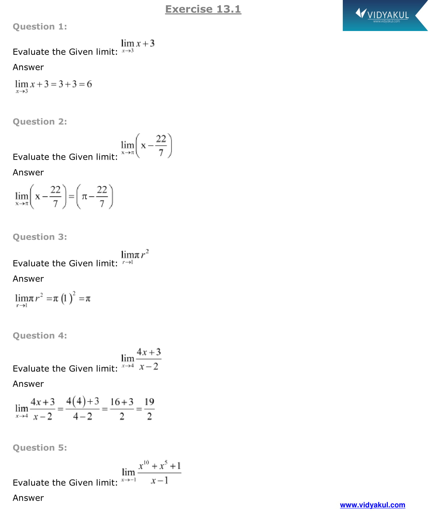 limits and derivatives class 11 ncert solutions