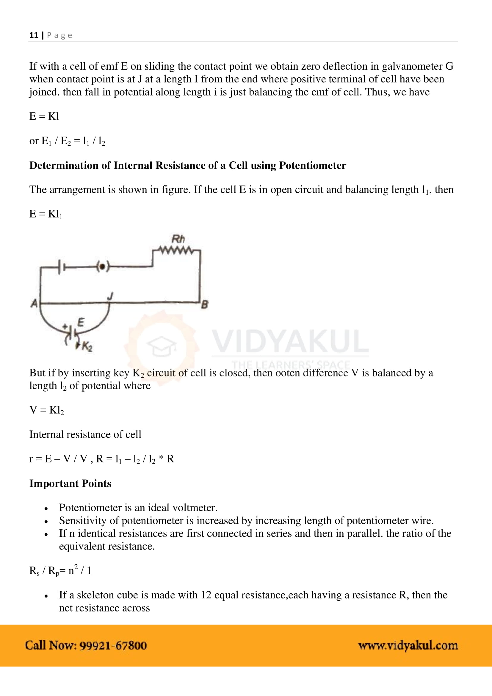Current Electricity Class 12 Notes Vidyakul Related Image With Physics Part