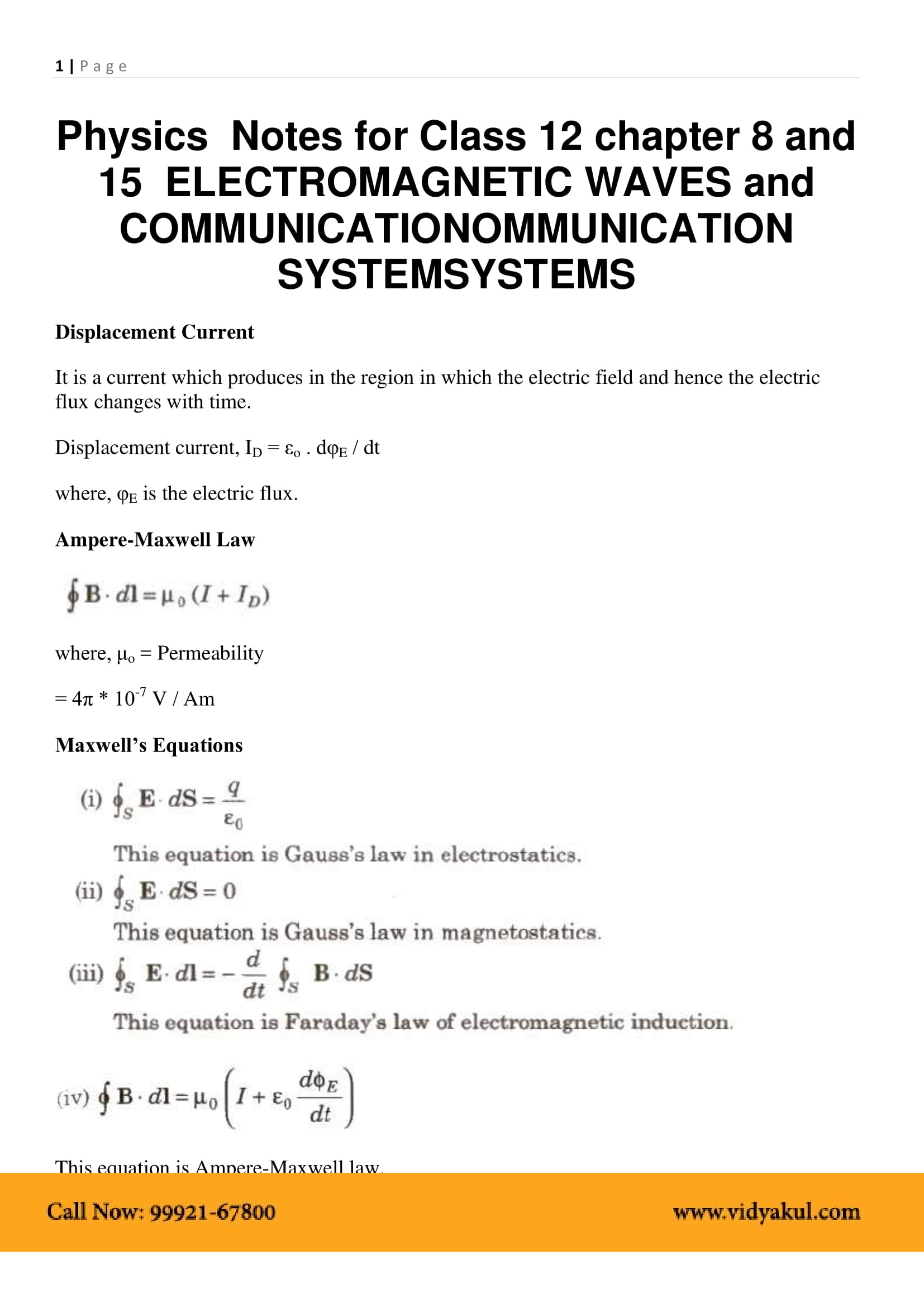 Class 12 physics chapter 8 electromagnetic waves notes vidyakul download this solution for free download this pdf publicscrutiny Gallery