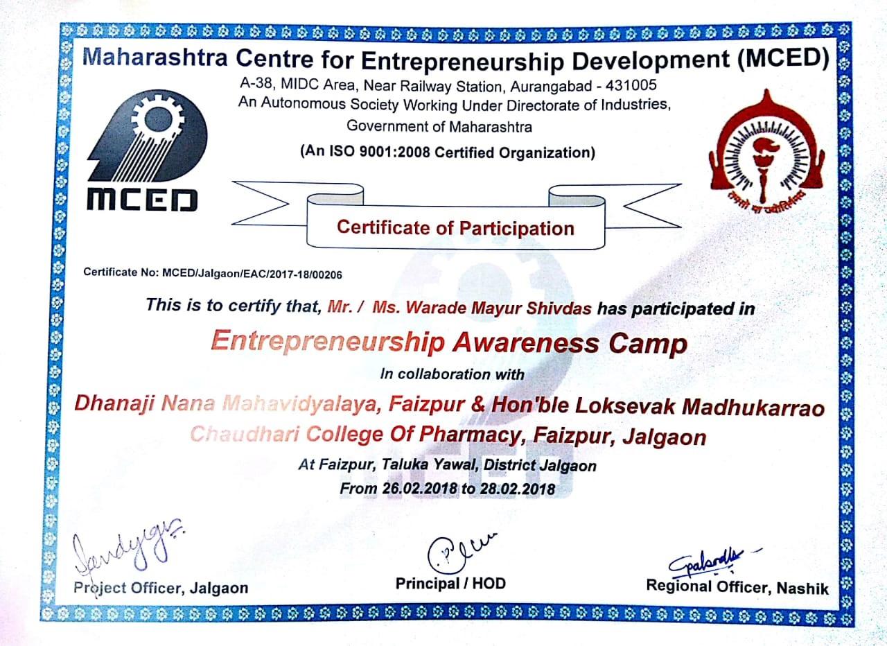 Entrepreneurship Awareness Camp By Maharashtra Center for Entrepreneurship  Development (MCED) Aurangabad