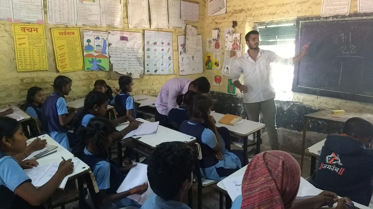 Educating 5th, 6th and 7th std.  Z.P. school students in Marunje
