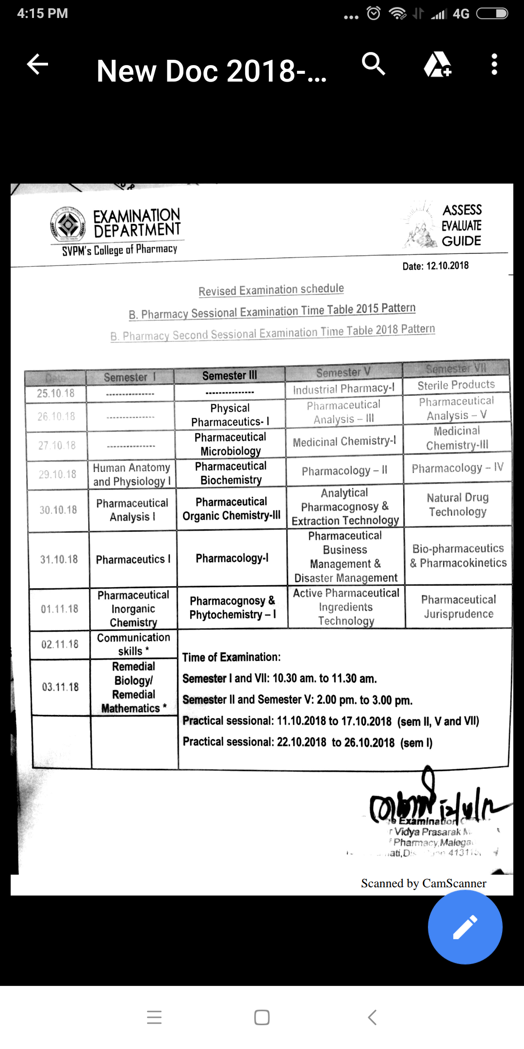 Revised Time Table for Sessional Examination