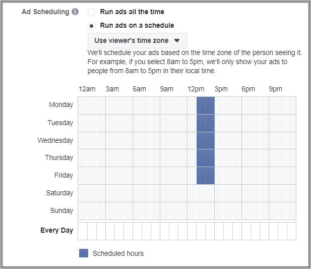 Facebook - Ad Scheduling