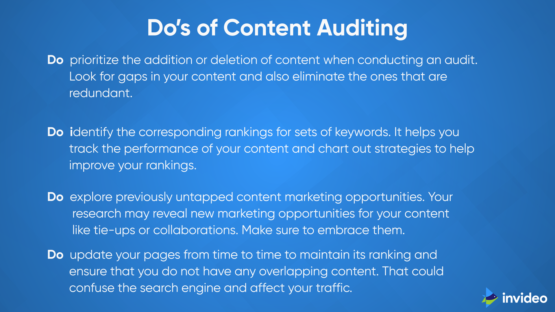 Do's of Content Auditing