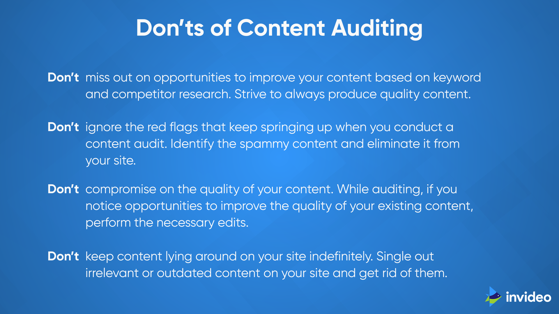 Dont's of Content Auditing