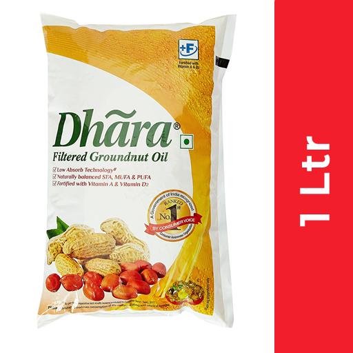 Dhara Groundnut Oil (Singtel  - धारा मूंगफली तेल) 1 ltr (Pouch)