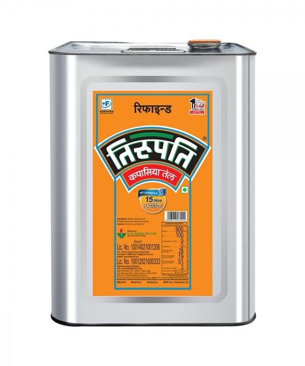 Tirupati Cottonseed Oil (तिरुपति कपासिया तेल) - 15 ltr (Tin)