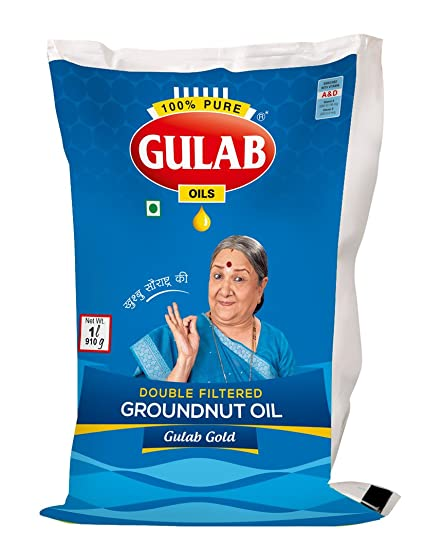 Gulab Double Filtered Groundnut Oil (મગફળીનું તેલ) 1 ltr (Pouch)