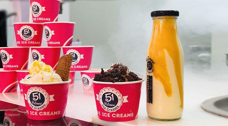 51 Rainbow Ice cream & Fast Food Background