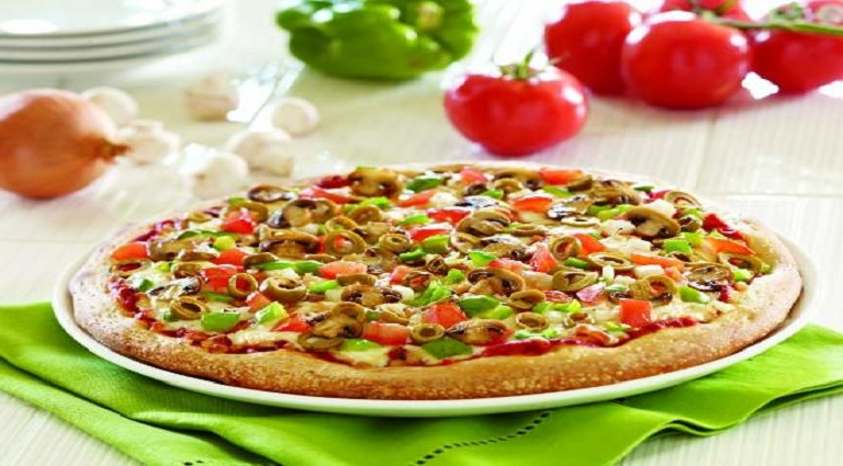 Pizza By Square Background