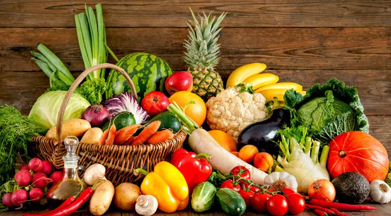 Green Fresh Fruit & Vegetable Background