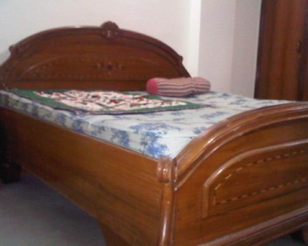 Teak Wood Double Bed With Inlay Work With Box For