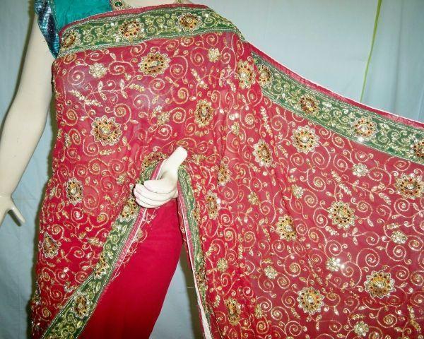 Manufacturer Designer Hand Work Embroidery Saree Lehenga Women