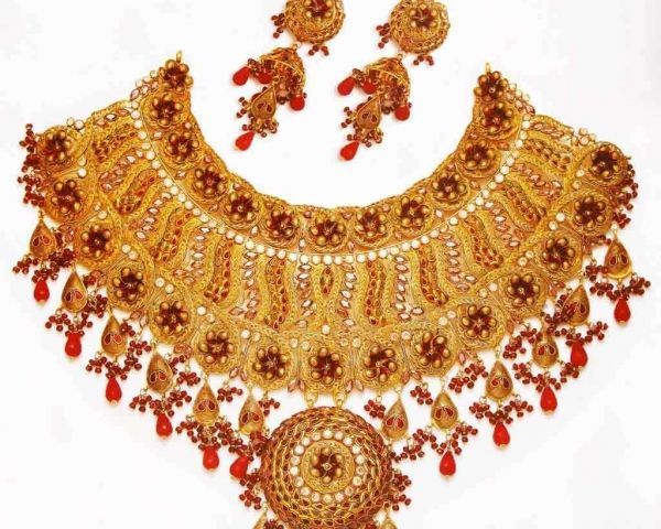 Exporter For Royal Jadau Neckalce Set GemNjeweleryat Chennai Jewelry