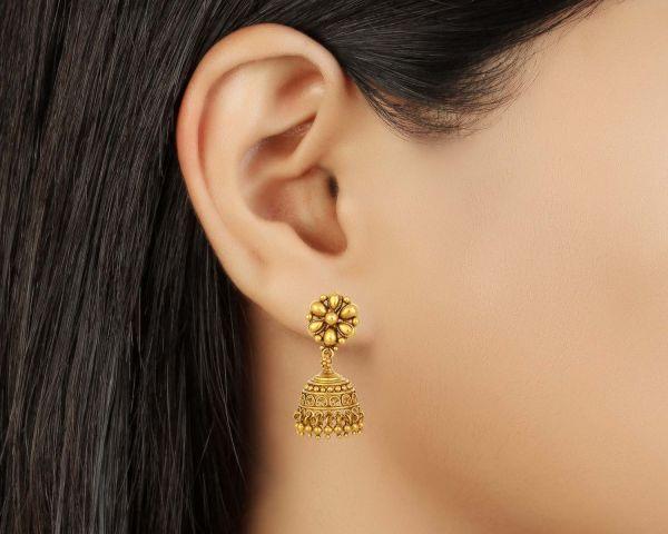 Tanishq Gold Earrings 22k Drop Jewelry Delhi 135356792