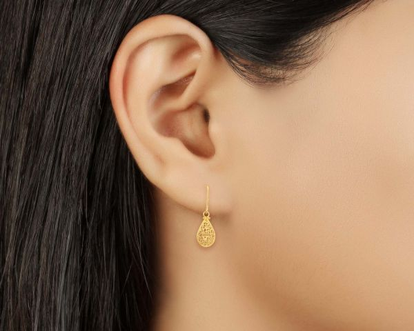 Tanishq Gold Earrings Tear Drop Hoop Jewelry Delhi